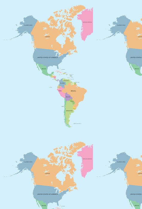 Tapeta Pixerstick Barevná politická mapa Severní a Jižní Americe - Témata
