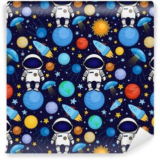 Vinylová Tapeta Barevné bezešvé kreslený vesmírný vzor s astronauty, rakety, planety, hvězdy na pozadí hvězdné noční oblohy, vektorové ilustrace. roztomilé a světlé vesmíru cestování bezproblémové vzoru