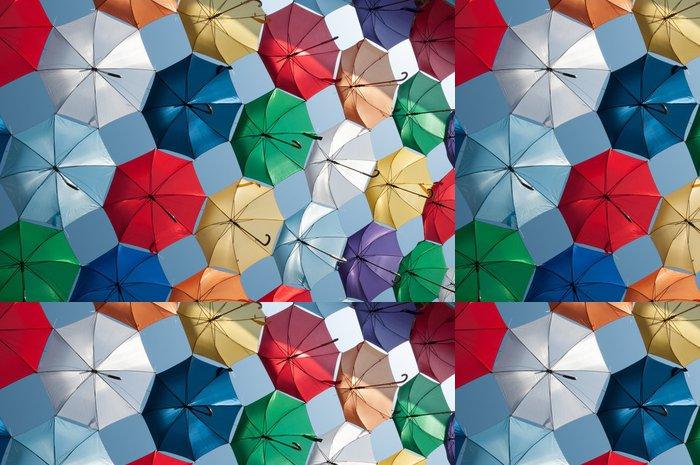 Tapeta Pixerstick Barevné deštníky šikmý pohled - Na cestě