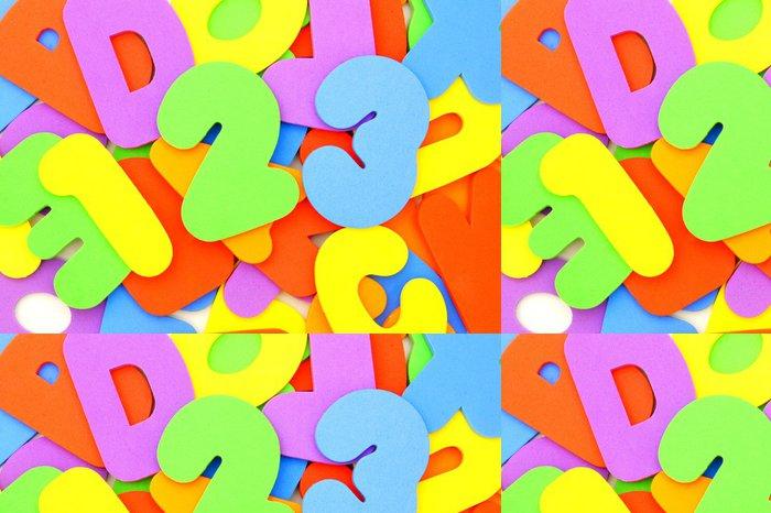 Tapeta Pixerstick Barevné hračky čísla a písmena s 123 před - Osud