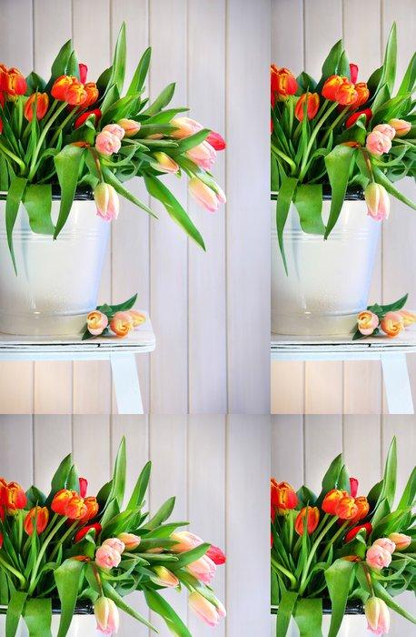 Tapeta Pixerstick Barevné jarní tulipány na staré lavičce - Mezinárodní svátky