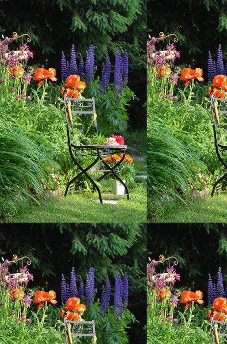 Tapeta Pixerstick Barevné květinový květiny zahradní židle - Soukromé budovy