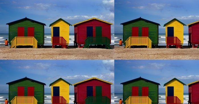 Tapeta Pixerstick Barevné malované pláž chaty s osamělá postava zíral na oceán - Smutek