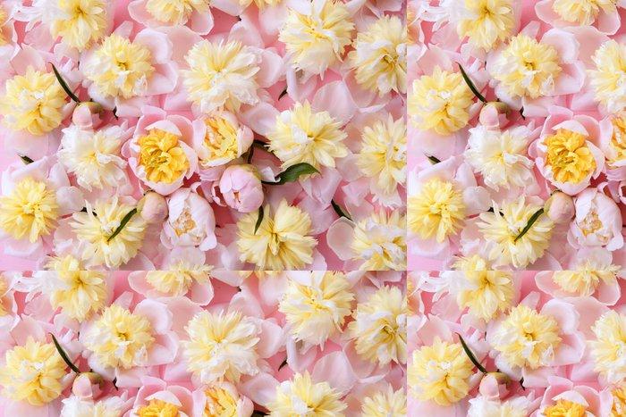 Tapeta Pixerstick Barevné růžové a žluté květiny na pozadí - Květiny
