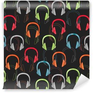 Vinylová Tapeta Barevné sluchátka bezešvé vzor. vektorové hudební pozadí se sluchátky.