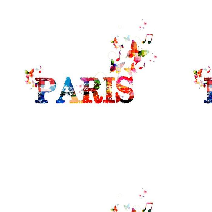 """Tapeta Pixerstick Barevné vektorové """"Paris"""" pozadí s motýly - Prázdniny"""