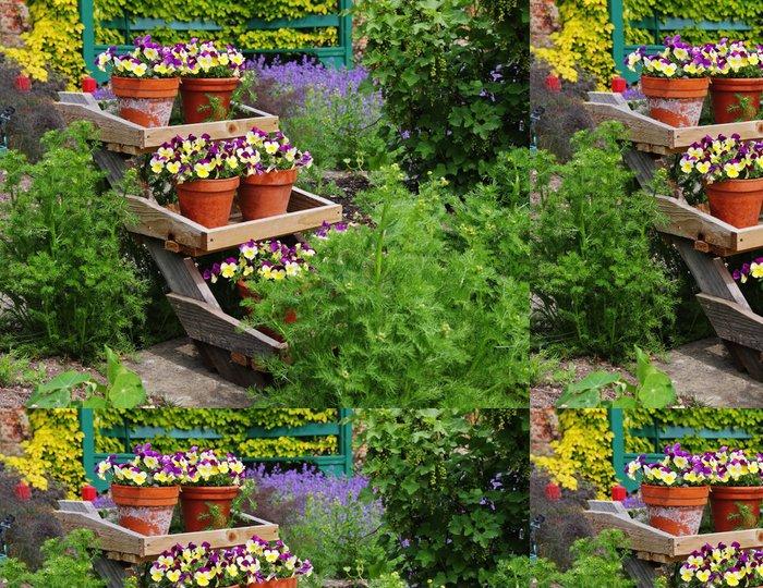 Vinylová Tapeta Barevný displej Květináč v anglické zahradě - Domov a zahrada