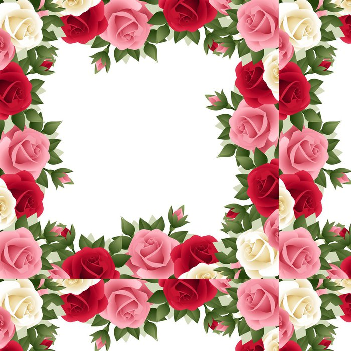 Tapeta Pixerstick Barevný růže rám. Vektorové ilustrace. - Květiny