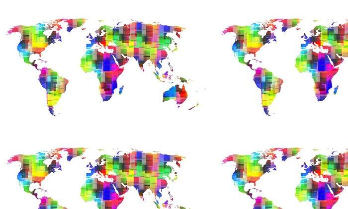 Vinylová Tapeta Barevný svět mapa, eps10 - Nálepka na stěny