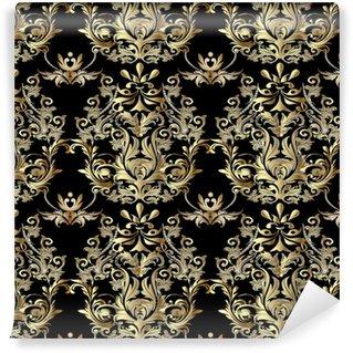 Vinylová Tapeta Barokní bezproblémový vzor. damašek tapety. ozdobené květinové pozadí se starožitnými dekorativními 3D květinami, listy a barokními ozdobami. vektorové textilie textilní vzor.