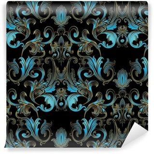 Vinylová Tapeta Barokní damaškové květinové bezešvé vzor. černý vektor pozadí tapety ilustrace s vinobraní modré květy, listovat vířivé listy a starožitné ozdoby ve viktoriánském stylu.