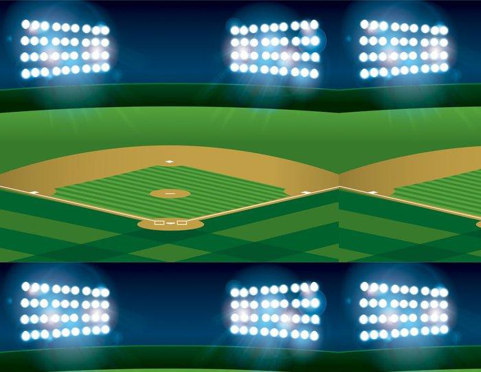 Tapeta Pixerstick Baseball Softball pole je v noci osvětlená - Týmové sporty