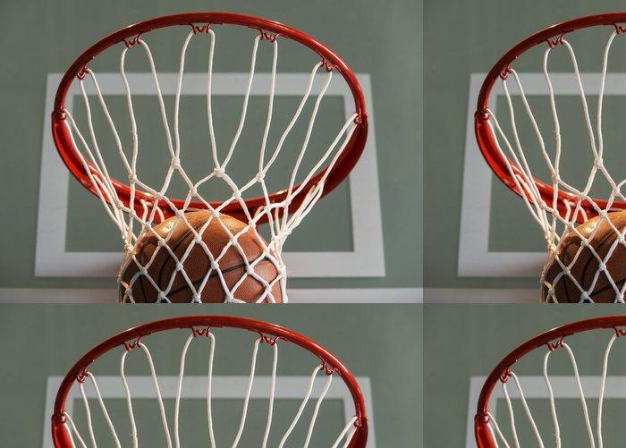 Tapeta Pixerstick Basketbal gól, míček a čisté - Basketbal