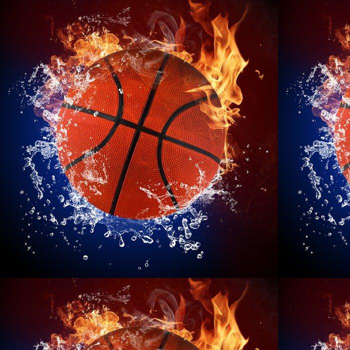 Tapeta Pixerstick Basketbalový míč v plameny ohně a stříkající vodě - Basketbal