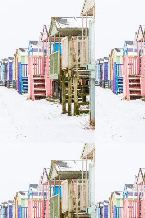 Tapeta Pixerstick Beach Huts ve sněhu - Soukromé budovy