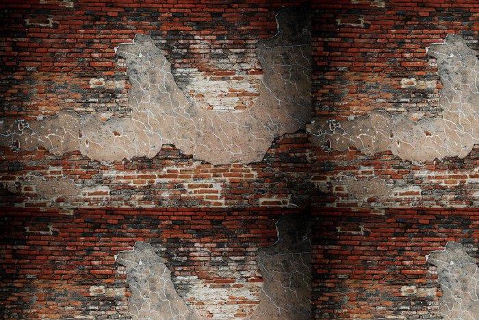 Tapeta Pixerstick Betonu s trhlinami a grunge cihlová zeď - Struktury