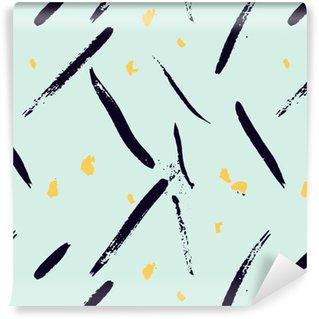 Vinylová Tapeta Bezešvé abstraktní ručně malovaná brushstroke tvary vzor textura. Jednoduchý moderní geometrické Chevron tisk v vektoru. Bederní stylový vzor.