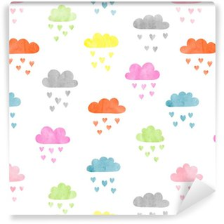 Vinylová Tapeta Bezešvé barevné akvarel mraky vzor. déšť srdce. vektorové ilustrace.