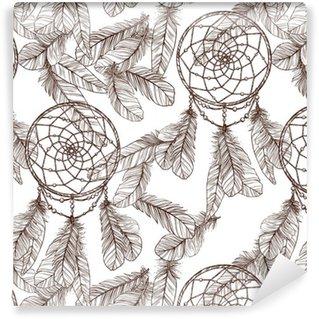 Vinylová Tapeta Bezešvé černobílý vzorek S Dreamcatcher a peří