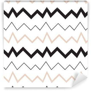 Vinylová Tapeta Bezešvé geometrický vzor. Minimalistický moderní styl. Abstraktní hory. Cikcak. Je to černá bílá a nahé barvy.
