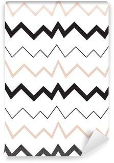 Tapeta Pixerstick Bezešvé geometrický vzor. Minimalistický moderní styl. Abstraktní hory. Cikcak. Je to černá bílá a nahé barvy.