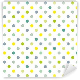 Vinylová Tapeta Bezešvé jarní vzor modré puntíky bílé pozadí