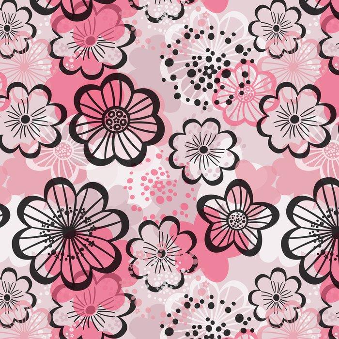 Tapeta Pixerstick Bezešvé květinové pozadí. Grafické růžové květy. - Struktury