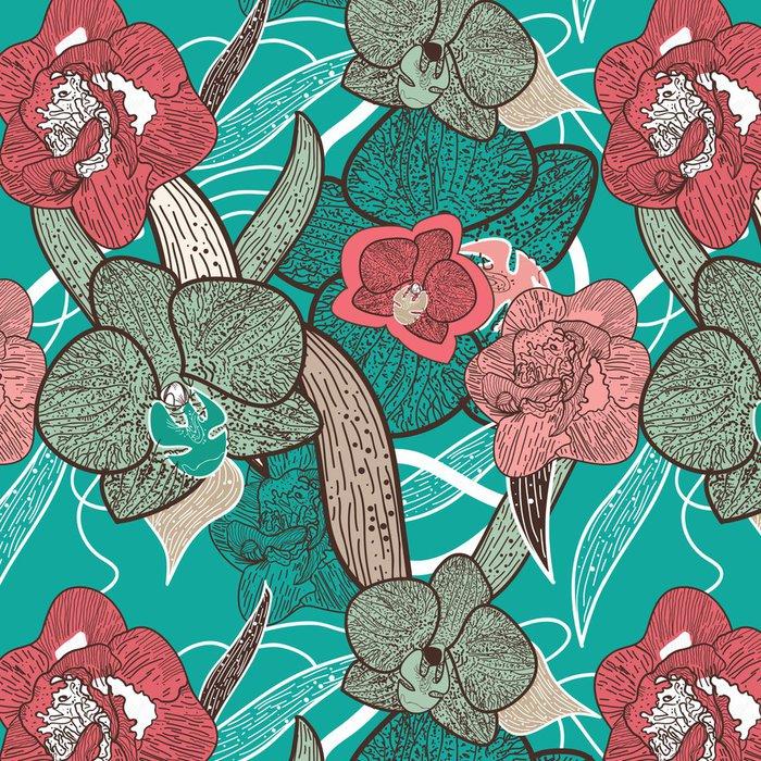 Tapeta Pixerstick Bezešvé květinové textury - Témata