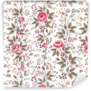 Vinylová Tapeta Bezešvé květinový vzor růže na bílém pozadí