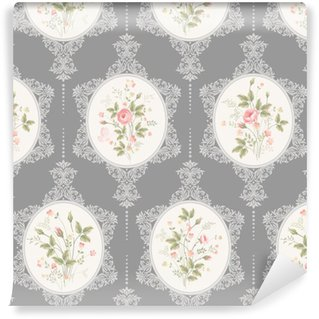Vinylová Tapeta Bezešvé květinový vzor s krajkou a růže kytice na šedém pozadí