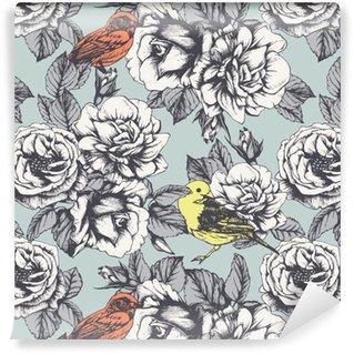 Vinylová Tapeta Bezešvé květinový vzor s ručně tažené růže a ptáky. Vektor