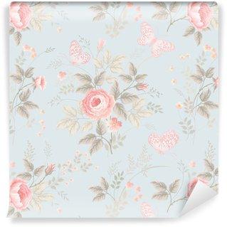 Vinylová Tapeta Bezešvé květinový vzor s růžemi a motýly