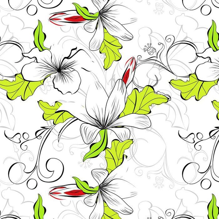 Tapeta Pixerstick Bezešvé květinový vzor - Styly