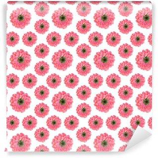 Tapeta Pixerstick Bezešvé květinovým vzorem s růžovými květy cínie