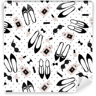 Tapeta Pixerstick Bezešvé módní doplňky vzor. Roztomilý módní ilustrace s černými boty, růžové rtěnky, laky na nehty, parfémy, brýle na puntíky pozadí.
