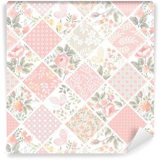 Vinylová Tapeta Bezešvé patchwork vzor s růžemi a motýly v pastelových barvách