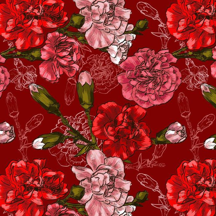 Tapeta Pixerstick Bezešvé pozadí s červeným květ karafiát - Květiny