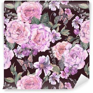 Vinylová Tapeta Bezešvé pozadí s růží a motýl