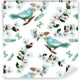 Vinylová Tapeta Bezešvé pozadí vzor s akvarel ptáků, květiny, peří a motýly