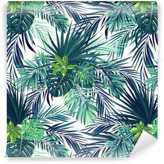 Vinylová Tapeta Bezešvé ručně kreslený botanický exotický vektorový vzor se zelenými listy palmy na tmavém pozadí.