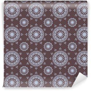 Vinylová Tapeta Bezešvé ručně malovaná mandala vzor pro tisk na tkaninách nebo papíru. Klasické ozdobné prvky v orientálním stylu. Islám, arabská, indická, turecké osmanské motivy. Vektorové ilustrace.