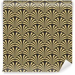 Vinylová Tapeta Bezešvé starožitné palety černá a zlatá luxusní art deco páv textilní vzor vektor