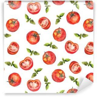 Vinylová Tapeta Bezešvé tapety s rajčaty zeleninou a zelenou bazalkou