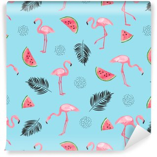 Vinylová Tapeta Bezešvé tropické trendy vzorek s akvarel plameňáci, meloun a listy palmy na modré. vektorové letní pozadí.