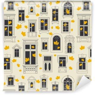 Vinylová Tapeta Bezešvé vektorové podzimní vzorek různých starých oken a žlutých javorových listů uvnitř i vně. bílé pozadí, černá okna a obrys.