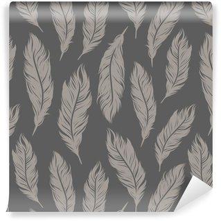 Vinylová Tapeta Bezešvé vektoru vzor s šedými péřových symboly