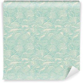 Vinylová Tapeta Bezešvé vlna ručně malovaná vzor. Abstract vintage pozadí.