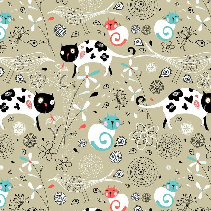Tapeta Pixerstick Bezešvé vzor jara s kočkami - Savci