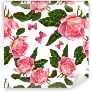 Vinylová Tapeta Bezešvé vzor pozadí s vintage stylu vodovky růží