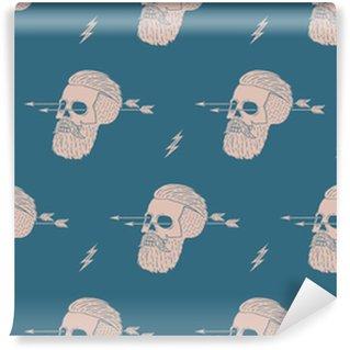 Vinylová Tapeta Bezešvé vzor pozadí vinobraní lebka boky se šipkou. grafický design pro balení papíru a tkaniny textura košile. vektorové ilustrace